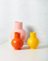 yellow orange pink ceramic vases