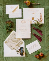 classic invitation itallian style with illustrated greenery and deckled edge