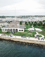 colleen stephen newport wedding cocktail hour at harbor