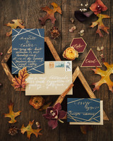 autumn fall asymmetrical geometric wedding invitations