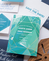 gemstone and gold geometric wedding invitations