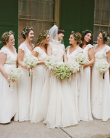 Bride and Bridesmaids in White with Flower Crowns