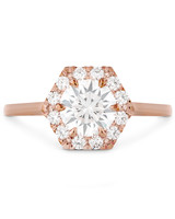Hearts On Fire Rose Gold Hexagonal Engagement Ring
