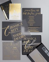 Gray and Gold Wedding Invitations with Seattle Map