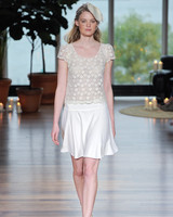 laure de sagazon fall 2018 two-piece lace top short skirt