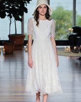 laure de sagazon fall 2018 lace short-sleeved tea-length