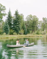 margaux patrick wedding couple canoe and dog