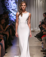 matthew christopher 2018 boat neck silky wedding dress