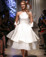 matthew christopher 2018 halter layered short wedding dress