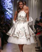 matthew christopher 2018 halter layered short floral wedding dress