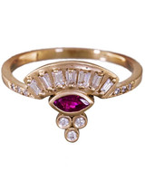 Michelle Fantaci Diamond and Ruby Fan Ring