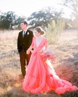 neon coral wedding dress bride