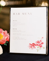 rebecca clay rehearsal dinner bar menu sign