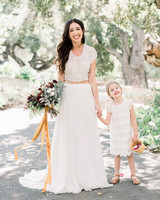 scalloped wedding decor bride and flower girl dress