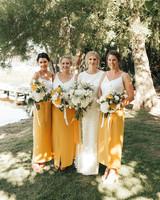 two piece bridesmaids bespoke photography mustard