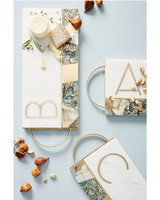 white marble Monogram Cheese Board