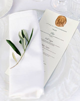 veronica mickias wedding place setting and menu with seal
