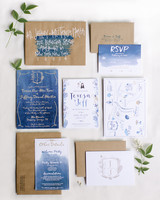 navy watercolor wedding invitation