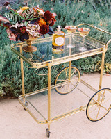 gold wedding bar cart