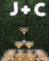 wedding champagne towers with monogram sign
