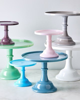 assorted color glass cake stands