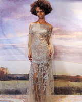 claire pettibone nude sheath wedding dress with lace applique fall 2018