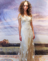 claire pettibone silk sheath wedding dress with shear overlay fall 2018