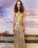 claire pettibone yellow floral sheath wedding dress fall 2018