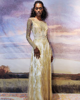 claire pettibone silk sheath wedding dress with gold applique fall 2018