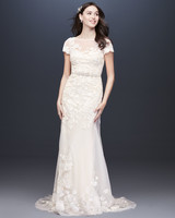 Illusion boat neck short sleeve a-line wedding dress Melissa Sweet Spring 2020