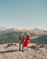 destination engagement couple mountain hike sunday attire