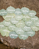eucalyptus lame tag table number white lettering
