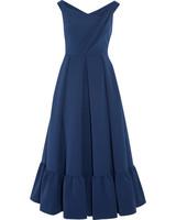blue off-the-shoulder long dress