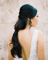 loose low ponytail hairstyle