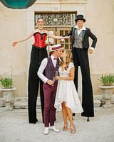 lara kjell circus party couple stilts