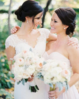 maid of honor bride matching hairstyles