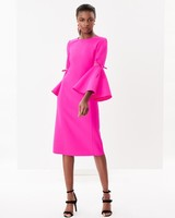 Oscar de la Renta Pink Mother of the Bride Dress with Flared Sleeve