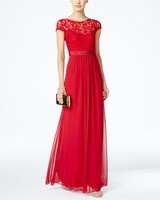 red bridesmaid dress adrianna papell lace illusion