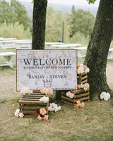 sanjay steven wedding welcome signage