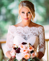 scalloped wedding decor bride with lace dress overlay