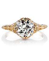Single Stone Charlotte euro-cut yellow gold engagement ring
