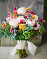 Wedding Bouquet Leaning Against a Wall
