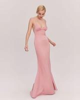 floor length Dusty Rose Matte Satin plunging neck line dress