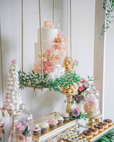 suspended wedding cake tables lestelle photography