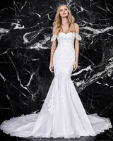 victoria kyriakides off-the-shoulder trumpet wedding dress spring 2018