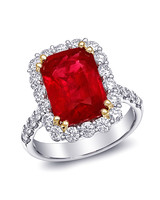 Coast Diamond Emerald-Cut Ruby Engagement Ring with Fishtail band