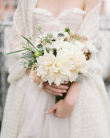 white dahlia wedding bouquet