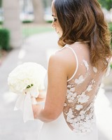 A Bride with an Illusion-Back Wedding Dress