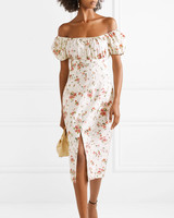 off the shoulder floral engagement party dress