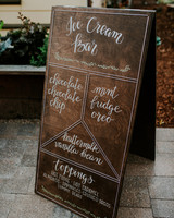 ice cream menu on wooden sign